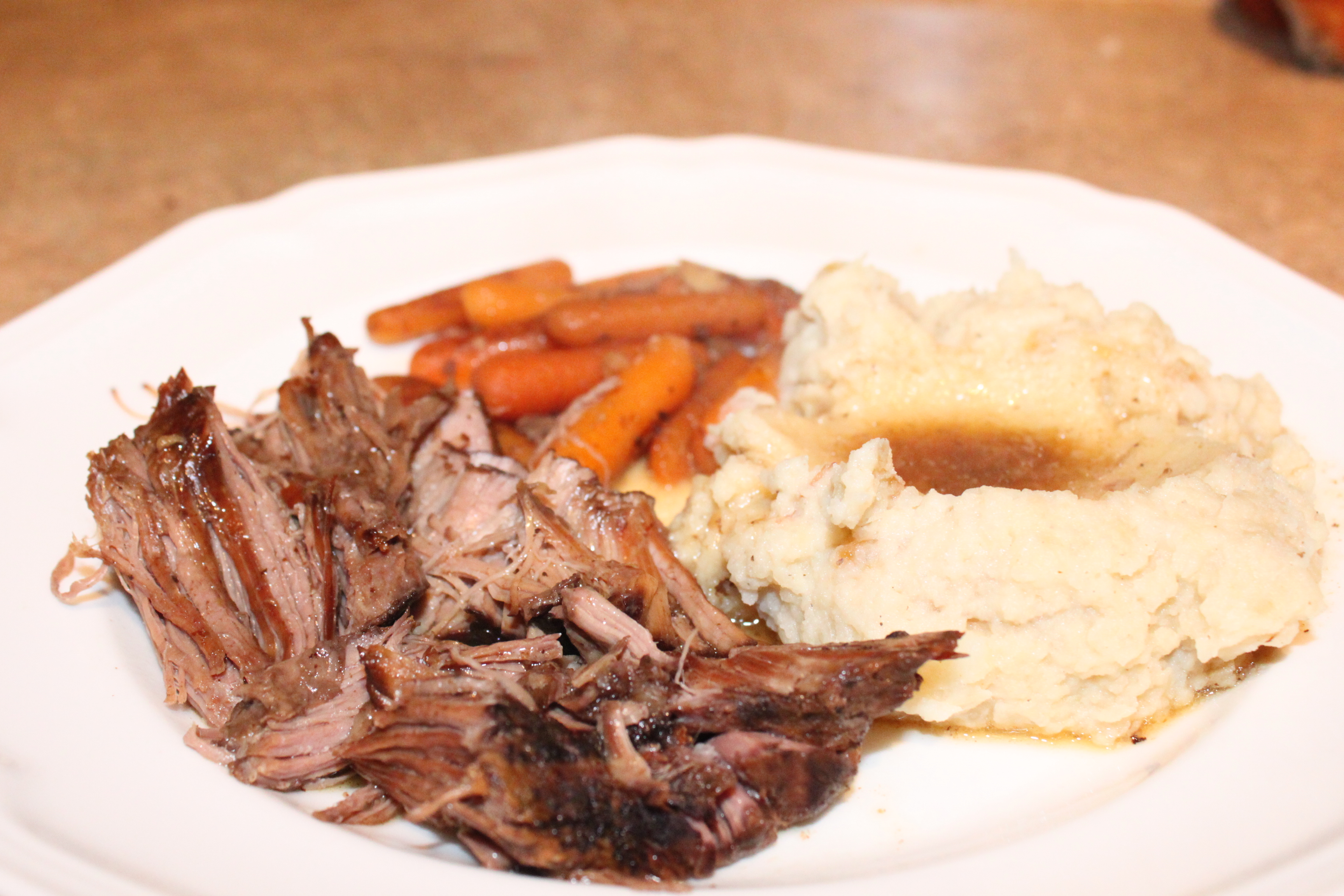 Slow Cooker Balsamic Pot Roast and Caramelized Onion Mashed Potatoes