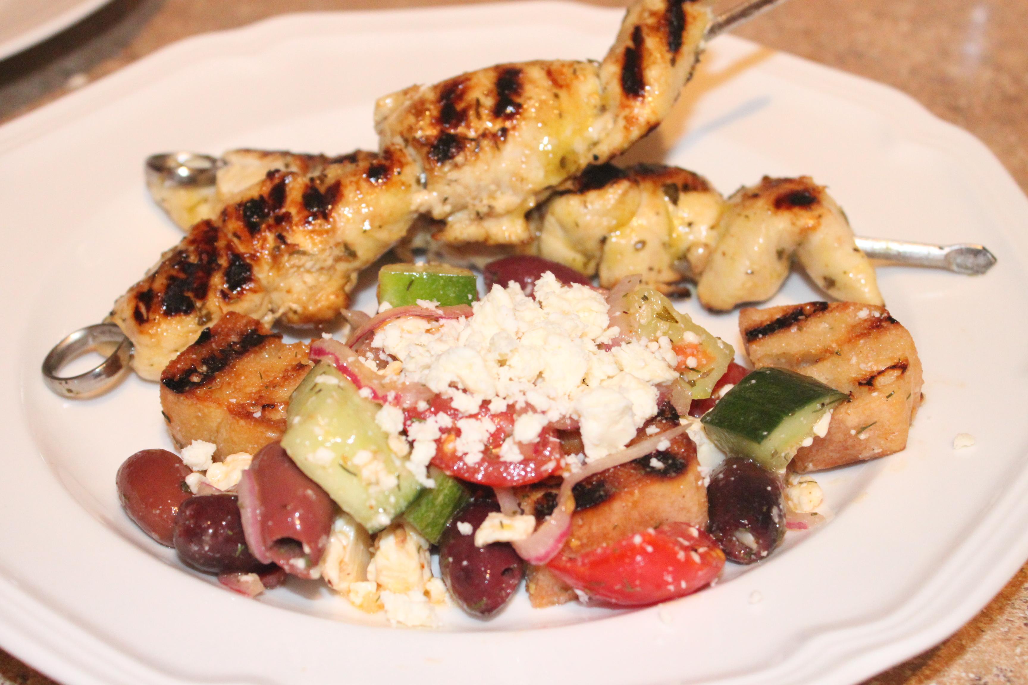 Chicken Kabobs with Mediterranean Panzanella Salad | BareNecessities ...